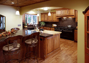 cabinets and laminate flooring
